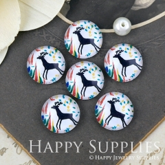 10pcs 12mm Deer Handmade Photo Glass Cabochon Glass Bead GC12-1286