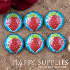 10pcs 12mm Strawberry Handmade Photo Glass Cabochon GC12-1109