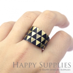 1pcs Triangle Handmade Photo Brass Ring PR042