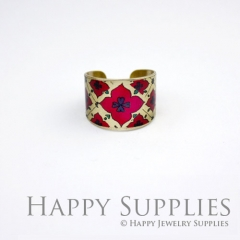 1pcs Flower Handmade Photo Brass Ring PR067
