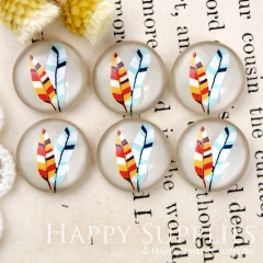 10pcs 12mm Feather Handmade Photo Glass Cabochon GC12-924