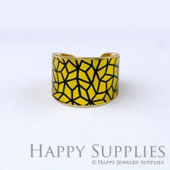 1pcs Blue Pattern Handmade Photo Brass Ring PR127
