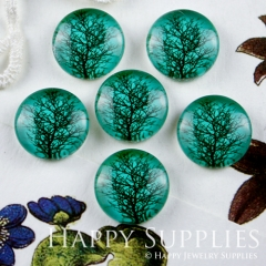 10pcs 12mm Green Tree Handmade Photo Glass Cabochon GC12-066