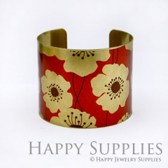 1pcs Flower Handmade Photo Brass Cuff Bracelet PBC018