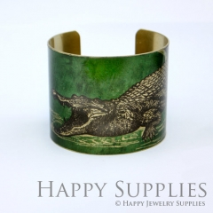 1pcs The crocodile Handmade Photo Brass Cuff Bracelet PBC074