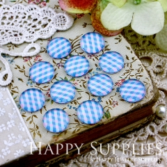 10pcs 12mm Color plaid Handmade Photo Glass Cabochon GC12-128