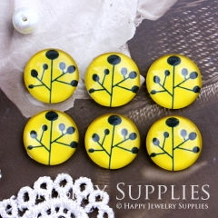 10pcs 12mm Tree Yellow Handmade Photo Glass Cabochon GC12-509