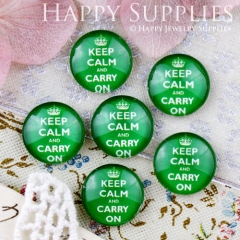 10pcs 12mm Green Keep Calm Carry On Handmade Photo Glass Cabochon GC12-698