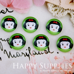 10pcs 12mm Snow White Handmade Photo Glass Cabochon GC12-279