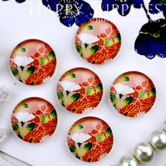 10pcs 12mm Flower Handmade Photo Glass Cabochon GC12-306