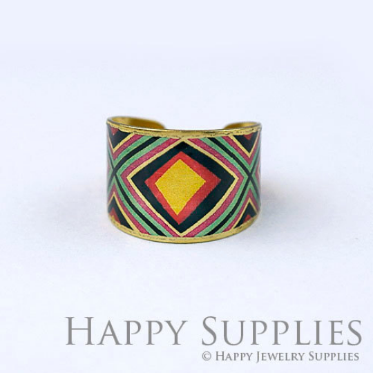 1pcs Pattern Handmade Photo Brass Ring PR116