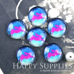 10pcs 12mm Blue and Pink Rabbit Handmade Photo Glass Cabochon GC12-1238