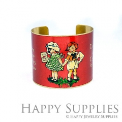 1pcs The boy and girl I Love You Handmade Photo Brass Cuff Bracelet PBC121