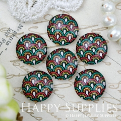 10pcs 12mm Geometric Colorful Handmade Photo Glass Cabochon GC12-1007