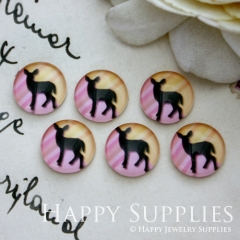 10pcs 12mm Deer Handmade Photo Glass Cabochon GC12-028