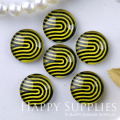 10pcs 12mm Yellow Lines Handmade Photo Glass Cabochon GC12-1221