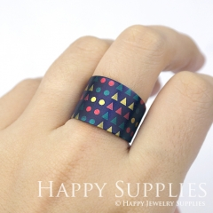 1pcs Blue Pattern Handmade Photo Brass Ring PR066