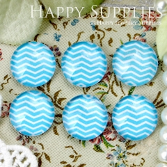 10pcs 12mm Blue Curve Stripe Handmade Photo Glass Cabochon GC12-339