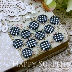 10pcs 12mm Black White plaid Handmade Photo Glass Cabochon GC12-142