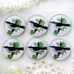 10pcs 12mm Bird Branch Handmade Photo Glass Cabochon GC12-691