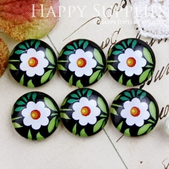 10pcs 12mm Flower Handmade Photo Glass Cabochon GC12-724