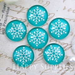 10pcs 12mm Snow Flower Handmade Photo Glass Cabochon GC12-1146