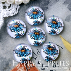 10pcs 12mm Blue Flower Handmade Photo Glass Cabochon GC12-1201