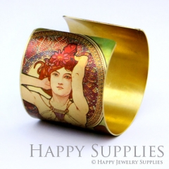 1pcs Woman Flower Handmade Photo Brass Cuff Bracelet PBC053