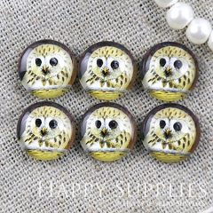 10pcs 12mm Yellow Owl Handmade Photo Glass Cabochon GC12-1188