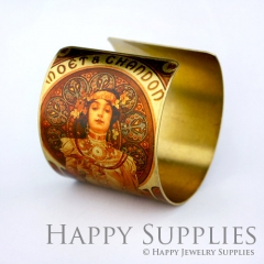 1pcs Woman Handmade Photo Brass Cuff Bracelet PBC044