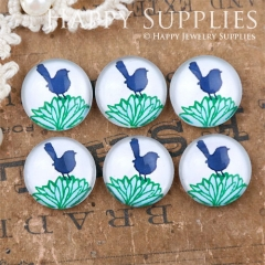 10pcs 12mm Bird Flower Handmade Photo Glass Cabochon GC12-1092