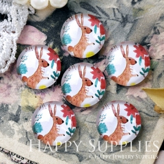 10pcs 12mm Deer and Flower Handmade Photo Glass Cabochon GC12-1237