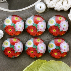 10pcs 12mm Flower Handmade Photo Glass Cabochon GC12-670