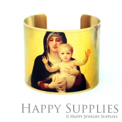 1pcs Woman and baby Handmade Photo Brass Cuff Bracelet PBC027