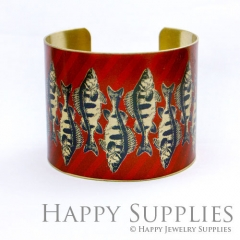 1pcs Fish Handmade Photo Brass Cuff Bracelet PBC065