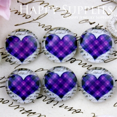 10pcs 12mm Blue Heart Handmade Photo Glass Cabochon GC12-653