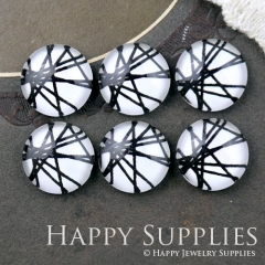 10pcs 12mm Geometric Black White Line Handmade Photo Glass Cabochon GC12-1180