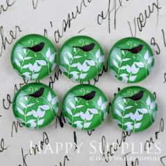 10pcs 12mm Bird and Leaves Handmade Photo Glass Cabochon GC12-1233