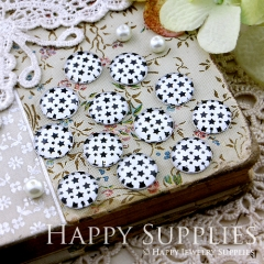 10pcs 12mm Black Star Handmade Photo Glass Cabochon GC12-132