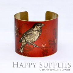 1pcs Bird Flower Handmade Photo Brass Cuff Bracelet PBC012