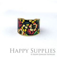 1pcs Flower Handmade Photo Brass Ring PR120