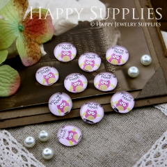 10pcs 12mm Owl You're Hot Handmade Photo Glass Cabochon GC12-185