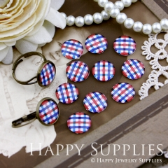 10pcs 12mm Red Blue plaid Handmade Photo Glass Cabochon GC12-139