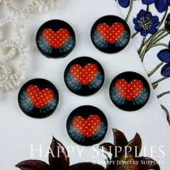 10pcs 12mm Heart Handmade Photo Glass Cabochon GC12-014