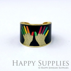 1pcs Hand Handmade Photo Brass Ring PR119