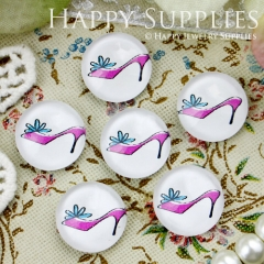10pcs 12mm High-heeled Shoes Handmade Photo Glass Cabochon GC12-349