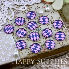 10pcs 12mm Color plaid Handmade Photo Glass Cabochon GC12-129