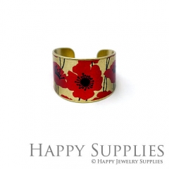 1pcs Flower Handmade Photo Brass Ring PR098