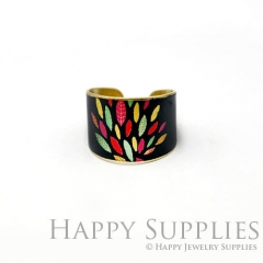 1pcs Color Leaves Handmade Photo Brass Ring PR104