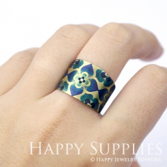 1pcs Flower Handmade Photo Brass Ring PR077